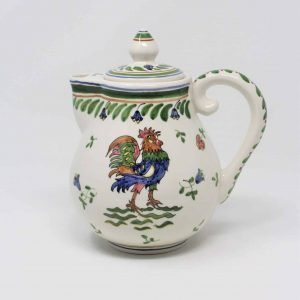 """Pitcher/ Coffee Pot, Arte Ceramica Arcer, """"Rooster"""" Hand Painted, Portugal"""