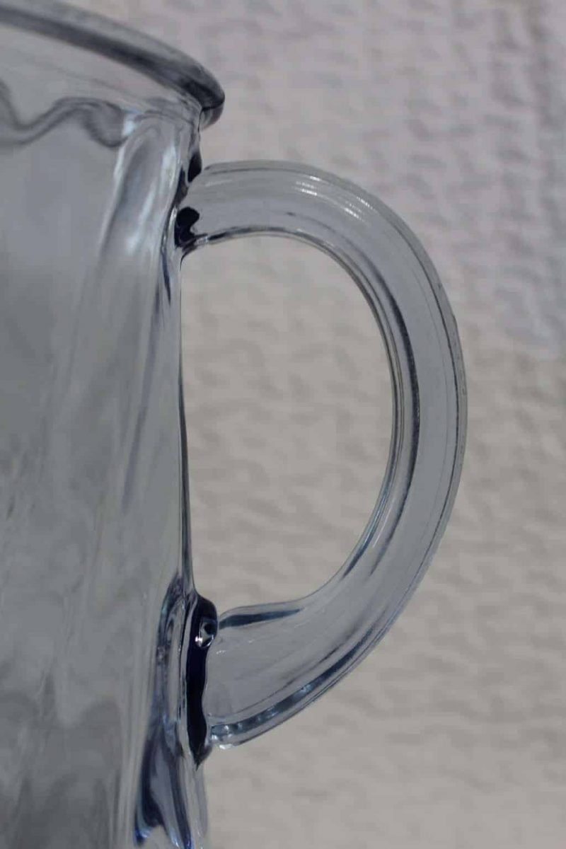 Pitcher, Blue Glass Spiral by Indiana Glass Co. with Ice Lip