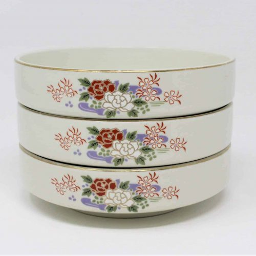 Bowls, Soup, Suimonowan style by Sone China, Lotus Flowers, Set of 3, Japan