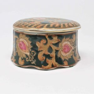 Trinket Box, Chinoiserie, Hand Painted, Oriental Accent, Porcelain Bisque