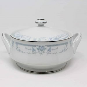 """Serving Bowl, Covered Vegetable, """"Blue Whisper"""", Footed, by Sheffield, Japan"""