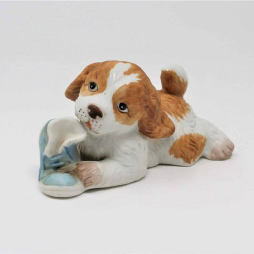 Figurine, Puppy Dog with Blue Shoe #1405, Bisque Porcelain by HomCo Collectibles