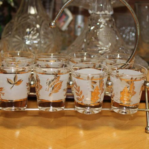 "Shot Glasses ""Starlyte"" Golden Foliage with Caddie, Mid-Century Modern, Set of 6"