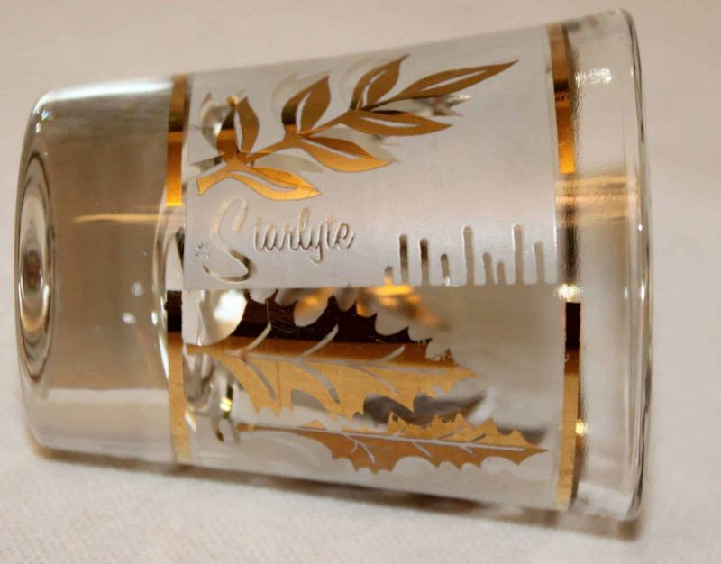 """Shot Glasses """"Starlyte"""" Golden Foliage with Caddie, Mid-Century Modern, Set of 6"""