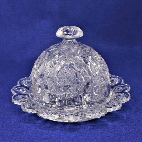 Butter Dish / Cheese Dome, Pinwheel and Stars Pattern, Glass