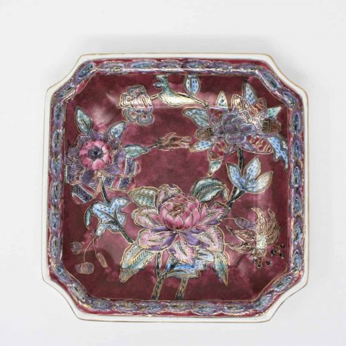 Decorative Plate, Chinoiserie Floral, Square, Ceramic
