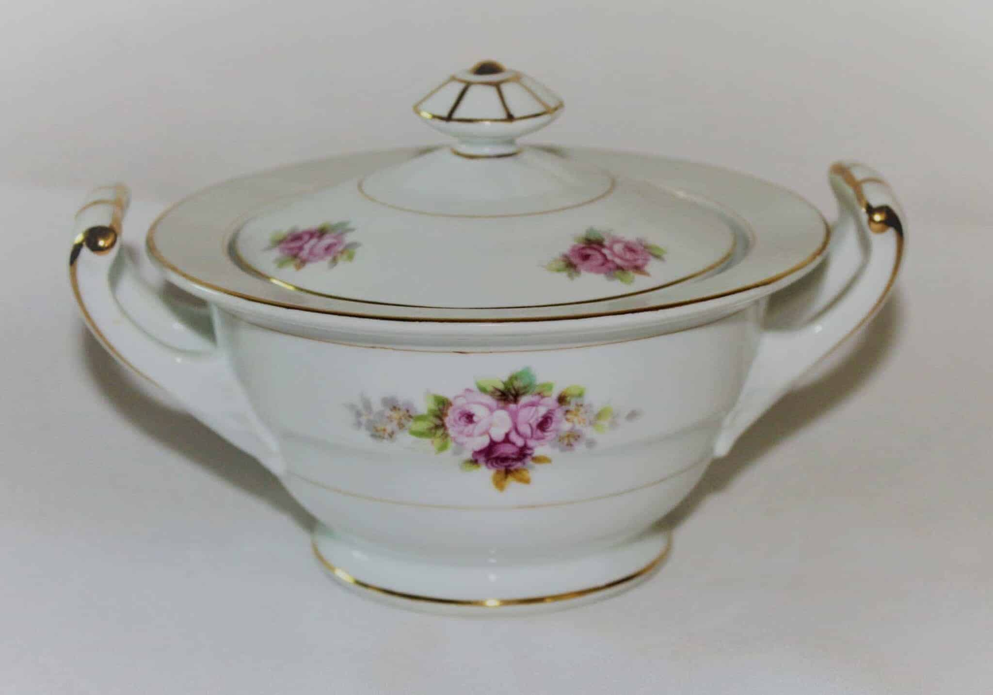 "Sugar Bowl with Lid, Noritake RC Stamp, ""N1427"", Pink/Red Roses"