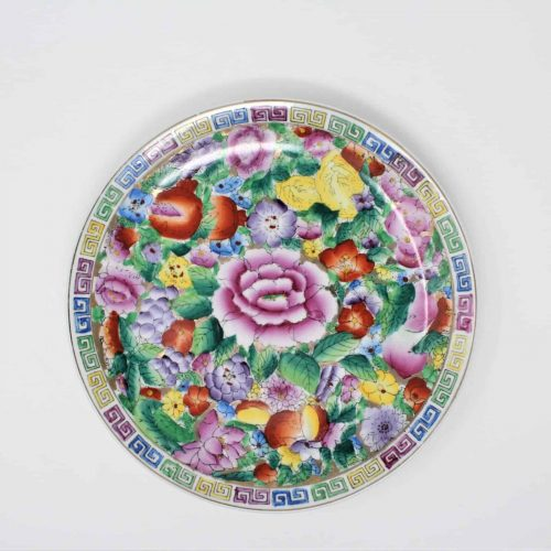 Decorative Plate, Oriental/Asian, Floral, MultiColor, Meandering/Greek Key