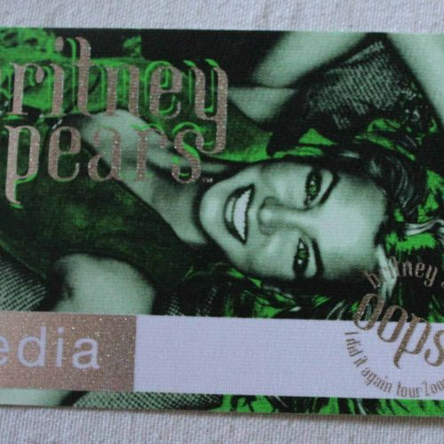 "Backstage Pass, Britney Spears ""Oops... I Did It Again"" 2000 Concert Tour, Media Pass"