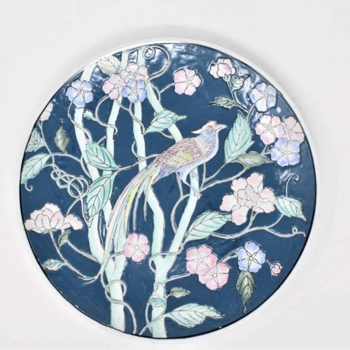 Decorative Plate, Oriental/Asian, Pheasant, Floral Pastels Blue/Pink