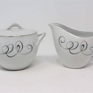 """Creamer and Sugar with Lid Set, """"Rhythm"""" by Style House, Retro, Japan"""