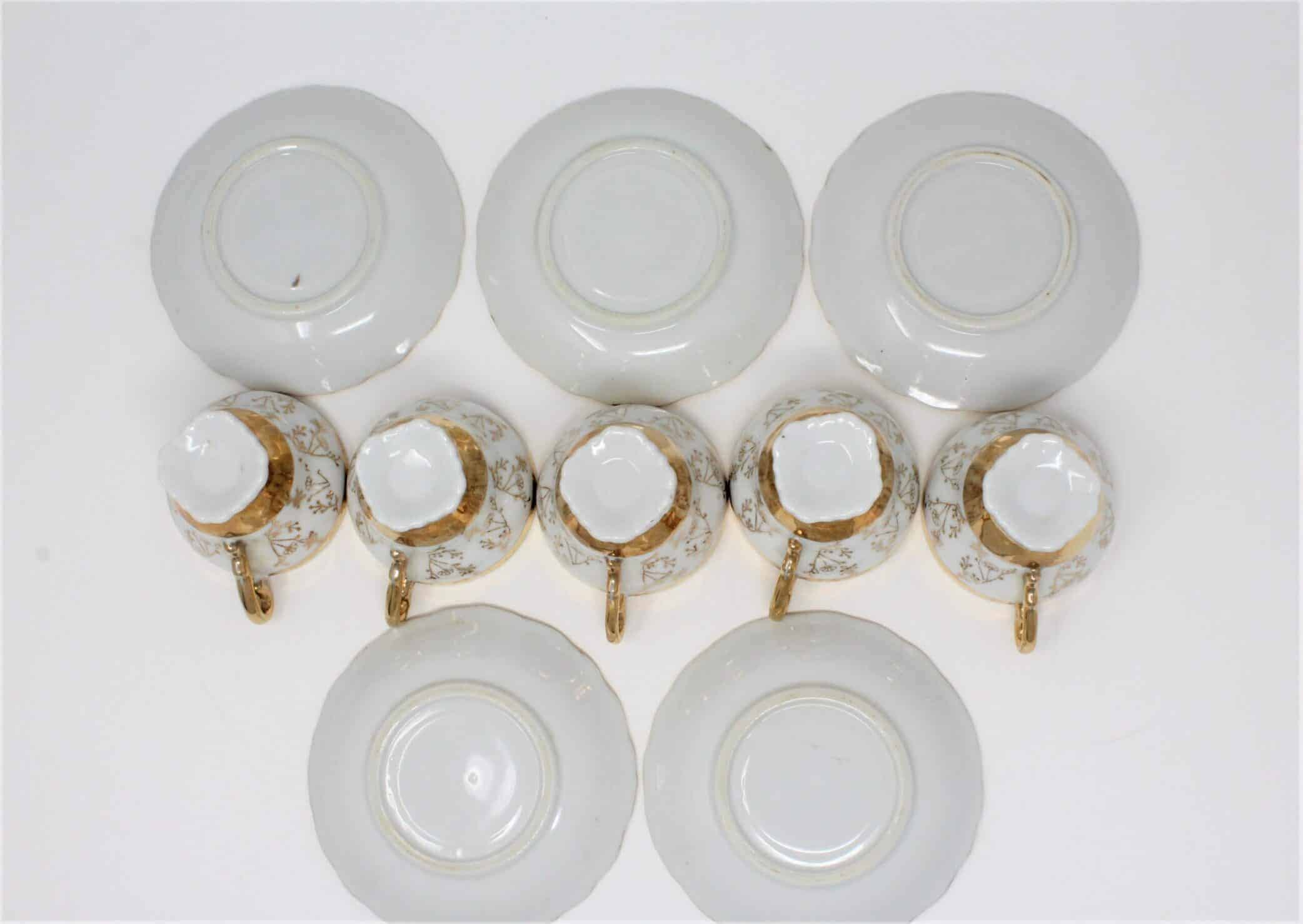 Demitasse Cup and Saucers, Heavy Gold, Footed, Bone China, Set of 5