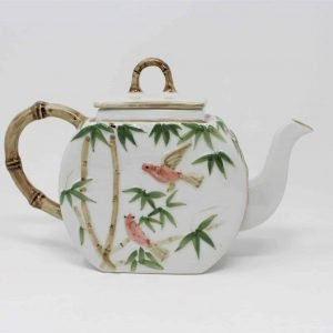 Teapot, Bamboo and Birds, Handcrafted, Ceramic, Thailand