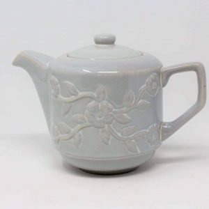 Teapot, Margaux Floral Embossed, Gray Stoneware, China