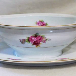 Gravy Boat with Under plate, Noritake, RC Stamp N1427, Pink/Red Roses