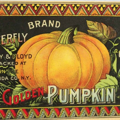 Label Can, Olney & Floyd Pumpkin, Butterfly Brand, Genuine NOS Antique