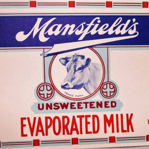 Label Can, Mansfield's Evaporated Milk, Genuine-Original, NOS Antique