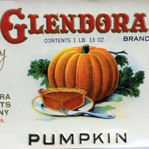 Label Can, Glendora Pumpkin, Embossed, Genuine Original, NOS