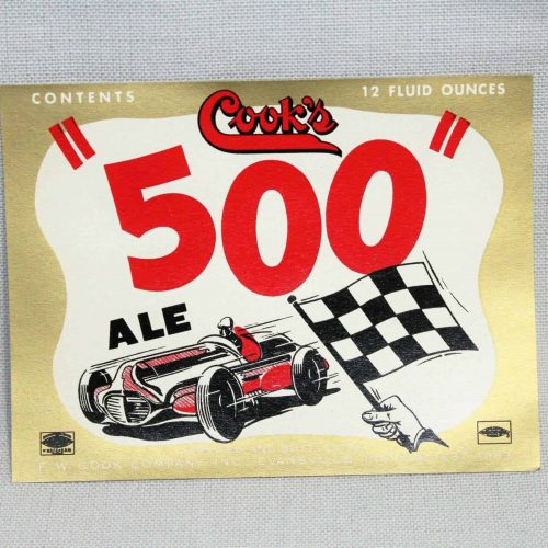Label Beer, Cook's 500 Ale, Original Circa 1950's NOS