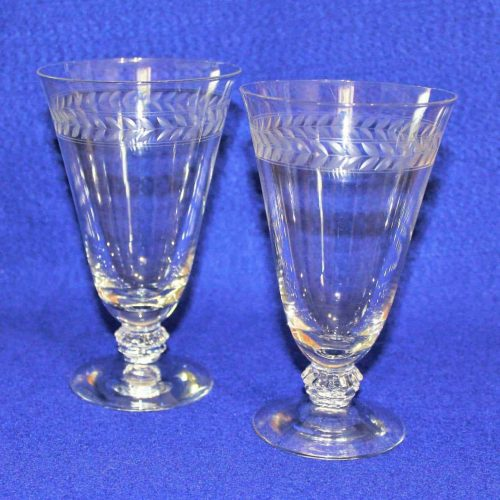 "Iced Tea / Goblets, ""Laurel"" by Fostoria, Footed, Blown and Etched, Set of 2"