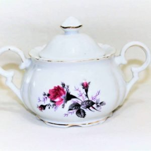 Vintage Sugar Bowl with Lid, Moss Rose Pattern by JAPAN