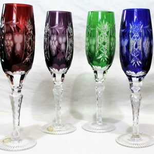"""Champagne Flutes Crystal, """"Marsala"""", Cut Lead Crystal, Set of 4, Hungary, SOLD"""