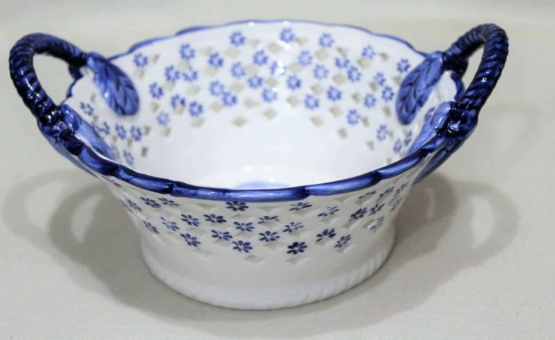 Bowl, Berry Basket, Ceramic, Windmill, Blue and White, Delft