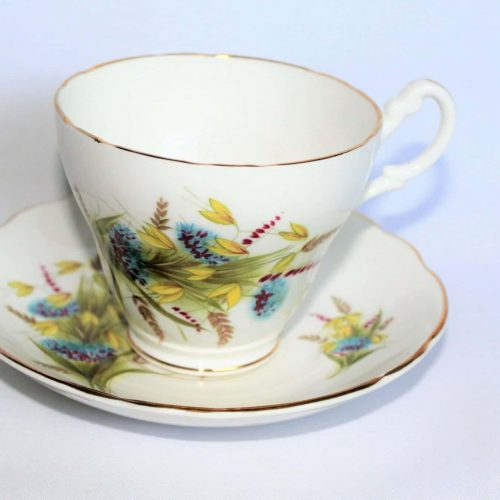 Teacup and Saucer, Royal Ascot- Blue and Yellow Floral, England
