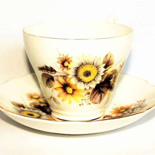Teacup and Saucer, Royal Ascot- Sunflowers, White / Orange