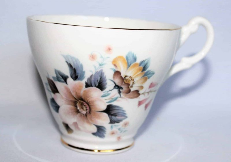 Teacup and Saucer, Royal Ascot, Peach, Yellow and Pink Floral, England