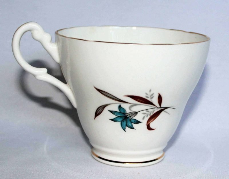 Teacup and Saucer, Royal Ascot, Blue Floral with Brown Leaves