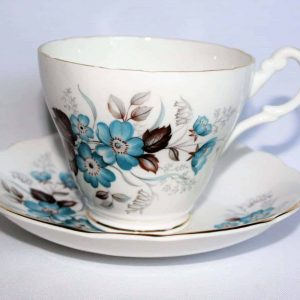 Teacup and Saucer, Royal Ascot- Aqua Floral with Brown Leaves