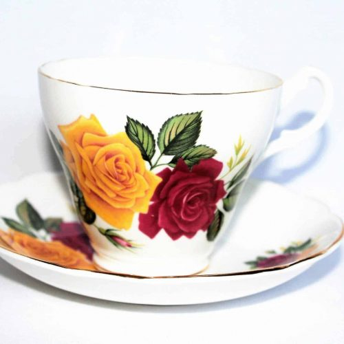 Teacup and Saucer, Royal Ascot, Red and Yellow Roses, England