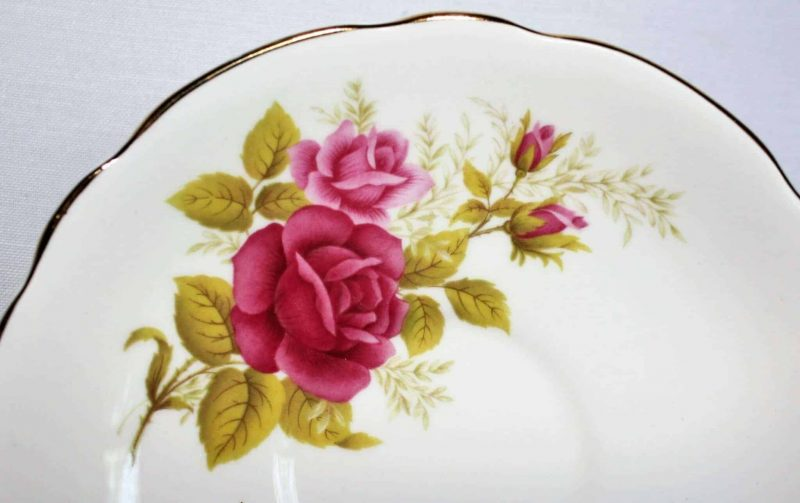 Teacup and Saucer, Royal Ascot, Red and Pink Roses, England, SOLD