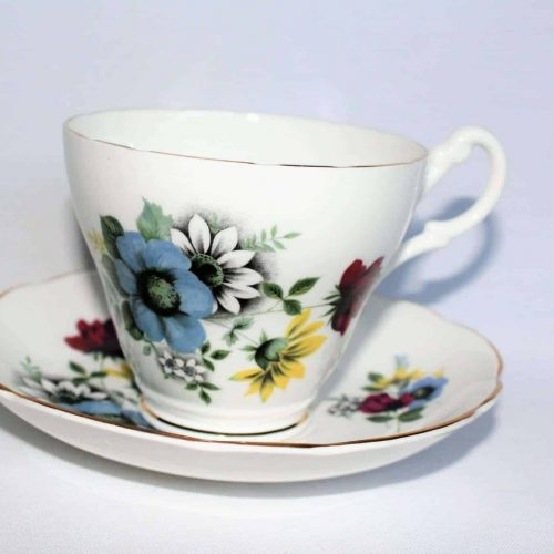 Teacup and Saucer, Royal Ascot, Blue, Red, Yellow & White Floral