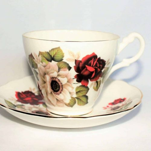 Teacup and Saucer, Royal Ascot, White and Red Floral, England