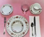 """Dinnerware Complete Service for 4, """"Anniversary"""" by Sheffield, 5 Piece Place Setting Japan"""