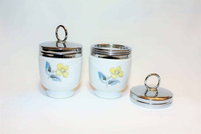 """Egg Coddlers / Egg Cups with Lid, """"Woodland"""" by Royal Worcester, Set of 2"""