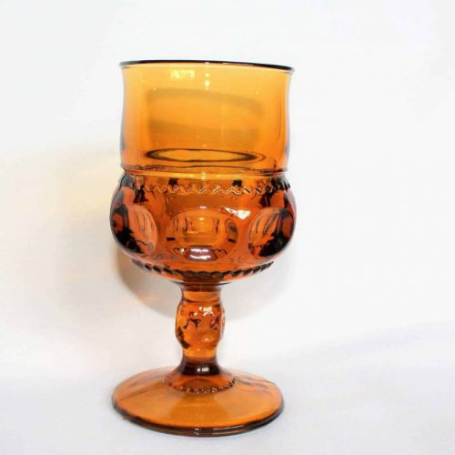 "Glasses, Water / Goblet, Amber Glass, ""Kings Crown"" (Thumbprint), Indiana Glass, Set of 8"
