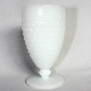 """Glass, Water / Goblet, Milk Glass, """"Hobnail"""" by Anchor Hocking, SOLD"""