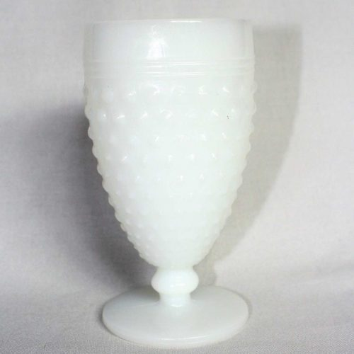 "Glass, Water / Goblet, Milk Glass, ""Hobnail"" by Anchor Hocking, SOLD"