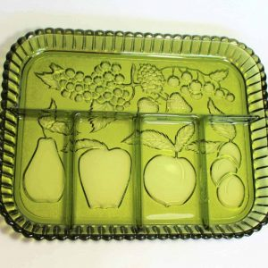 Dish, Divided 5 Section, Tray / Platter, Fruits Green / Avocado Glass by Indiana Glass Co.