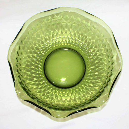 "Serving Bowl, Avocado Green Glass, ""Diamond"" Pattern"