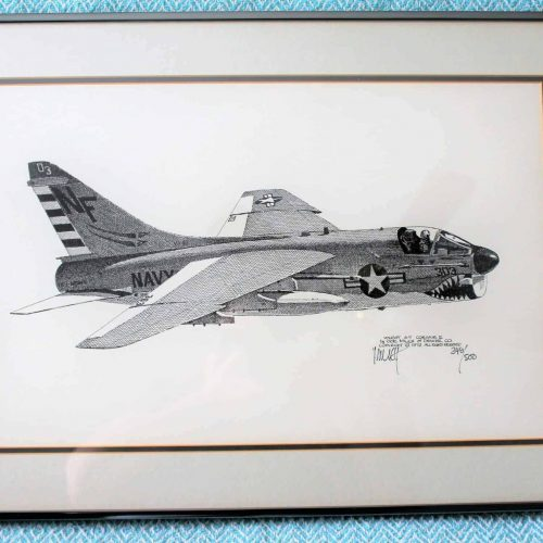 Print, Joe Milich, Vintage Vought A-7E Corsair II VA-93, Framed, Signed and Numbered