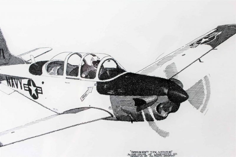 Print, Joe Milich, Navy Beechcraft T-34C MENTOR- Framed, Signed and Numbered