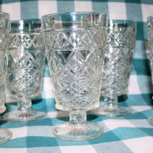 "Glasses, Tumblers/Goblets, Hazel Atlas ""Gothic Clear"",Footed, Set of 6"