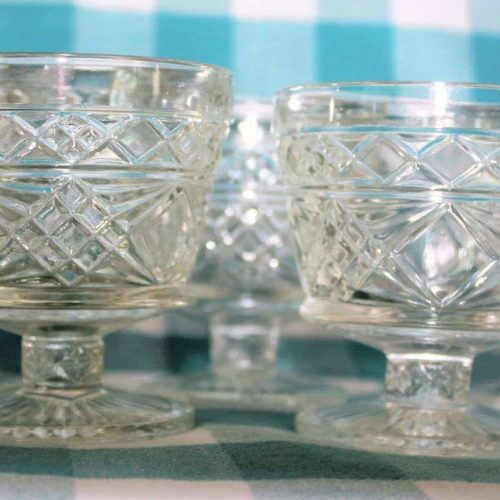 "Cup Dessert/Sherbet, ""Gothic"" Clear by Hazel Atlas, Footed, Set of 6"