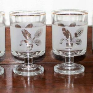 """Glasses, Cocktail/Dessert, Decover """"Gold Wheat"""", Mid-Century Modern Frosted, Set of 6, SOLD"""