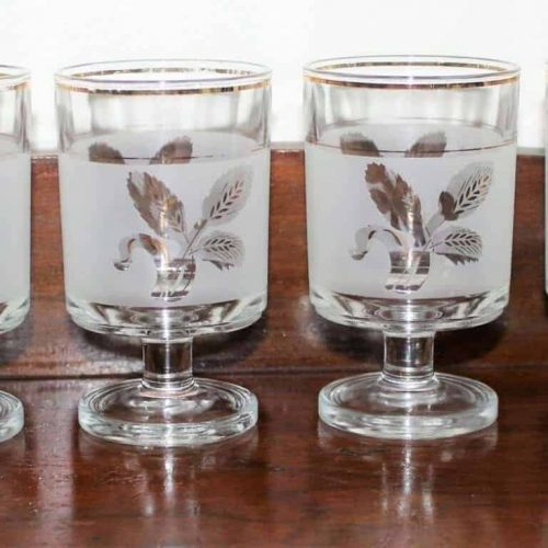 "Glasses, Cocktail/Dessert, Decover ""Gold Wheat"", Mid-Century Modern Frosted, Set of 6, SOLD"