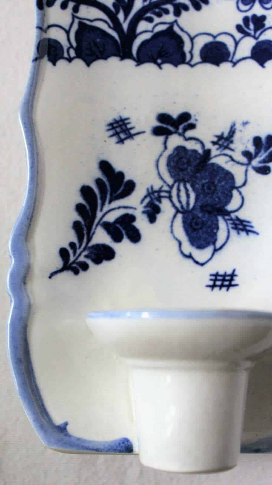 Wall Sconce / Hooded Candle Holders / Flower Vase, Delft ... on Wall Sconces That Hold Flowers id=22124